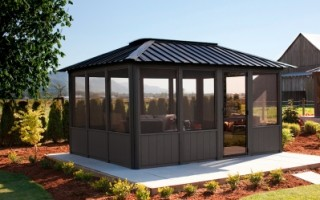 Paradise LeisureScapes is an official Visscher Gazebo Dealer. We offer open air, semi and fully enclosed gazebos, and pergolas for Regina and Saskatoon